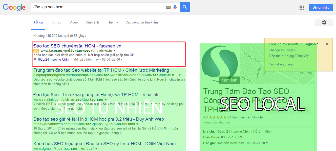 Vị trí quảng cáo Google Adwords