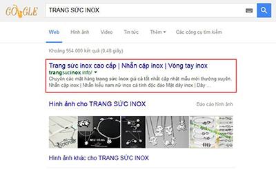 Em Huyền đã SEO top từ TRANGSUCINOX tại khóa đào tạo SEO