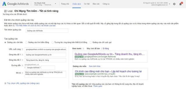 Cài đặt tài khoản Google AdWords