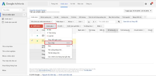 Sao chép và dán trong Google AdWords