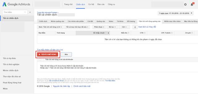 Tiện ích mở rộng vị trí trong Google Adwords