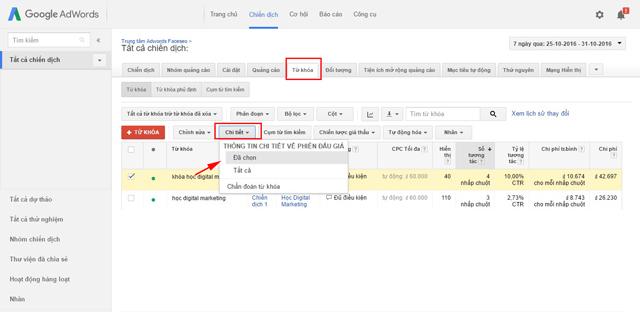 Báo cáo cụm từ tìm kiếm và phiên đấu giá
