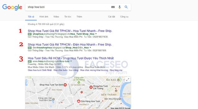 Vị trí quảng cáo trong Google AdWords