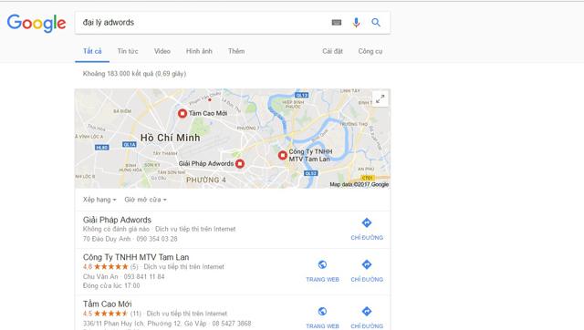 Hiển thị vị trí trên trang kết quả tìm kiếm