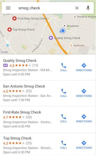 Hiển thị kết quả tìm kiếm vị trí trên điện thoại