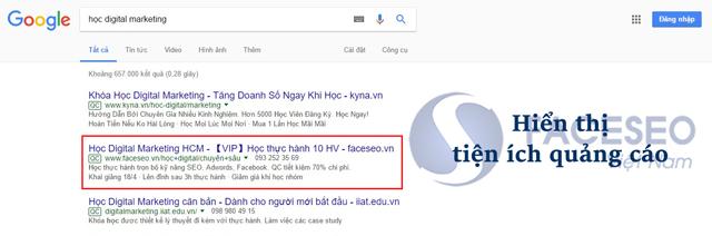 Tiện ích quảng cáo Google AdWords